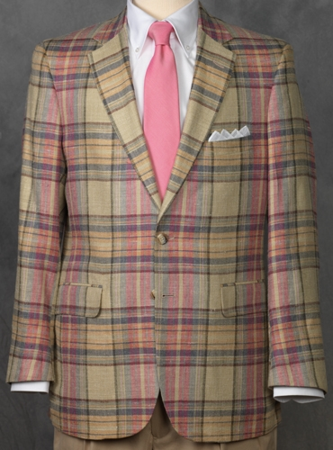 Silk and Linen Jacket in Pink and Sage Large Plaid
