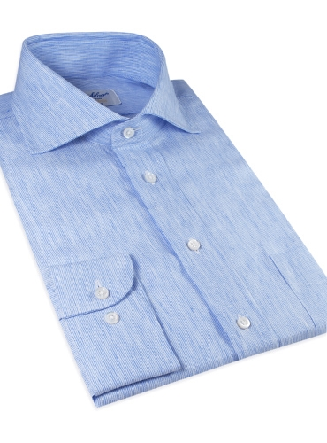 Blue and White Hairline Stripe Linen Cutaway