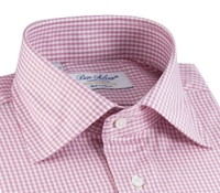 Pink & White Small Grid Check Spread Collar
