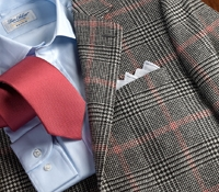 Jacket Cashmere Black Glen Plaid with Red Windowpane