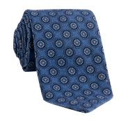 Wool Medallion Printed Tie in Corsican