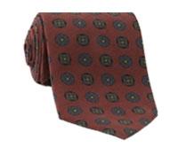 Silk Printed Medallion Motif Tie in Brick