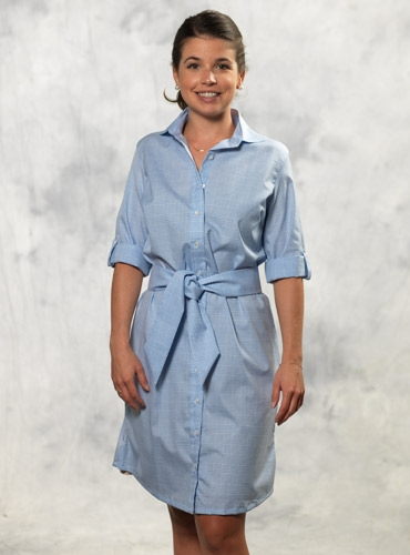 Sky and White Glen Plaid Cotton Shirt Dress