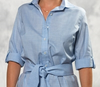 Sky and White Glen Plaid Cotton Shirt Dress