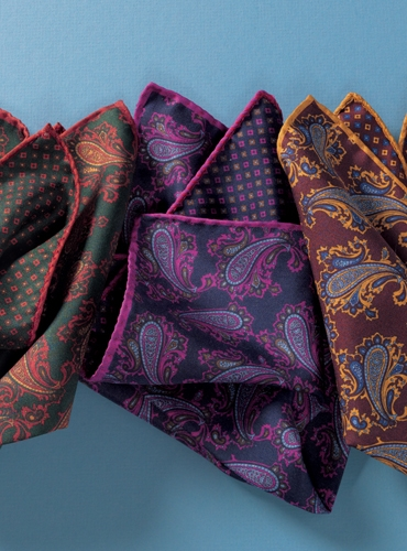 Silk Printed Paisley Reversible Pocket Squares