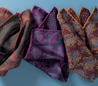 Silk Printed Paisley Reversible Pocket Squares