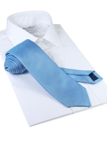 Silk Basketweave Solid Tie in Sky