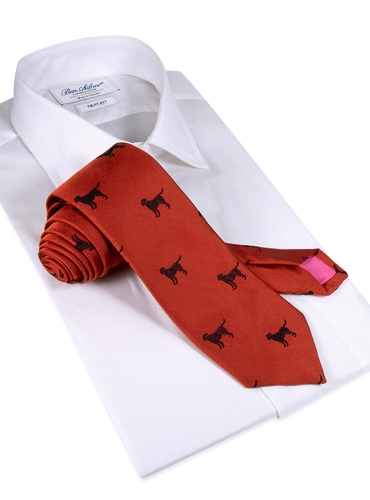 Jacquard Woven Lab Motif Tie in Ruby and Black