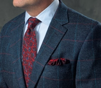 Rich Blue Wool Sport Coat with Pacific Blue and Red Windowpane