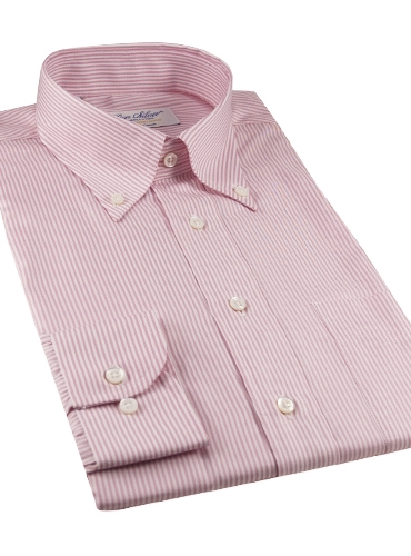 170's Pink & White Bengal Stripe Button Down