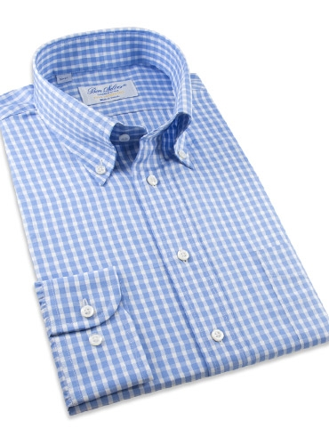 Sky Blue and White Check Button Down