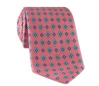 Silk and Linen Neat Print Tie in Salmon