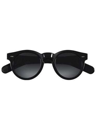 Bold Semi-Round Sunglasses in Black