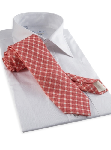 Linen Print Gingham Tie in Poppy