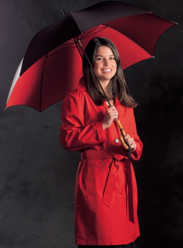 Ladies Double-faced Umbrella in Black with Red Interior