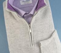 Cashmere Half Zip Sweater in Earl Grey