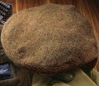 Wool Garforth Cap in Brown and Cream Herringbone