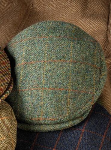 Wool Helmsley Cap in Green with Gold and Orange Windowpane