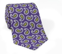 Linen and Silk Paisley Tie Purple