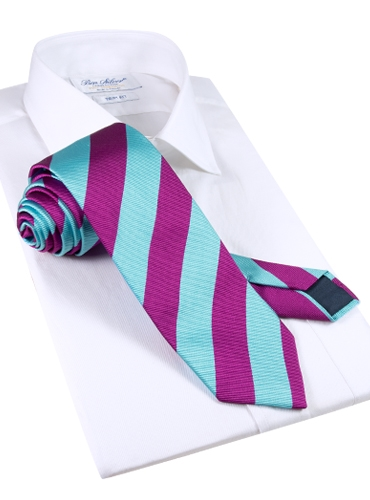 Silk Block Stripe Tie in Violet