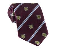 Silk Woven Crest Tie in Wine