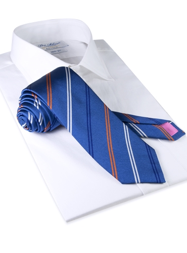 Silk Double Stripe Tie in Denim