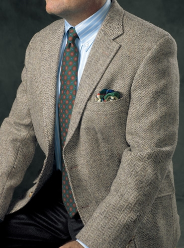 Pewter & Sand Herringbone Harris Tweed Sport Coat