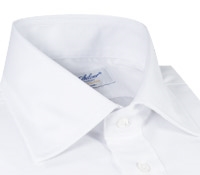 White Twill Spread Collar Travel Shirt