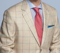 Cream Herringbone Sport Coat with Blue and Rose Windowpane