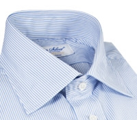Sky Blue & White Stripe Spread Collar Travel Shirt