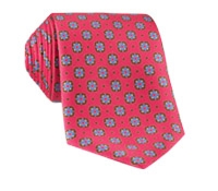 Silk Neat Print Tie in Salmon