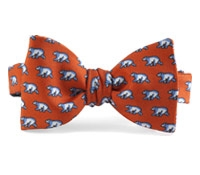 Silk Print Polar Bear Bow in Chili