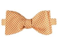 Silk Floral Motif Printed Bow Tie in Honey