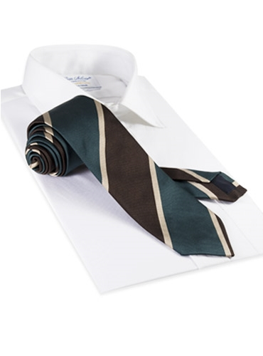 Silk Block Stripe Tie in Mocha and Teal