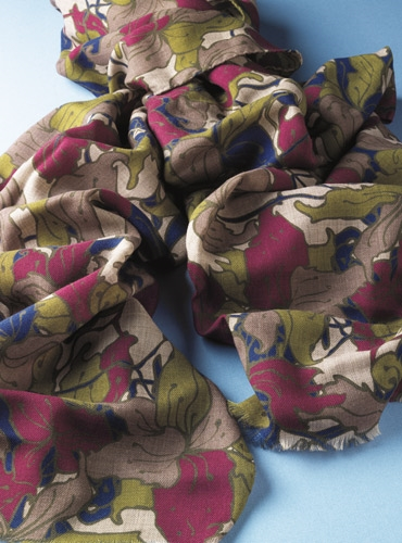Ladies Wool Blend Scarf with Foliage Print in Olive