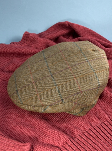 Wool Garforth Motoring Cap in Olive with Purple, Green, Red, and Yellow Windowpane