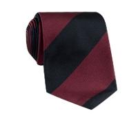 Silk Block Stripe Tie in Berry and Black