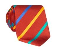 Silk Bar Striped Tie in Ruby