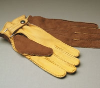 Tan And Gold Deerskin Gloves For Men
