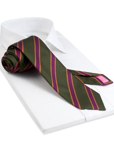 Silk Stripe Tie in Field