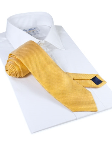 Silk Basketweave Solid Tie in Sun