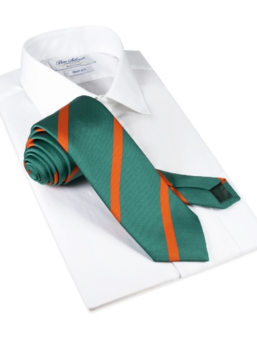 Silk Bar Stripe Tie in Teal with Tangerine