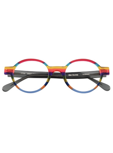 Multi-Colored Handmade Frame in Translucent Rose, Teal, Yellow and Grey