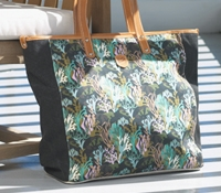Canvas Coral Printed Tote in Black