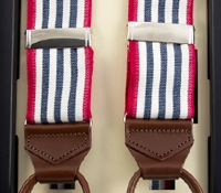 Oxford Triple Stripe Braces in Navy with Red