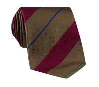 Silk Multi-Stripe Tie in Nutmeg and Ruby