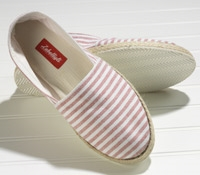 White and Red Bengal Stripe Canvas Espadrilles with Rubber Soles