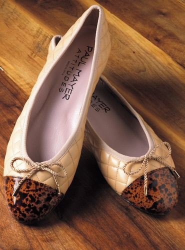 Quilted Flats with Patent Tortoise Toe in Beige
