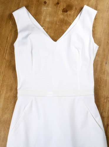 Cotton V-neck Sheath Dress in White