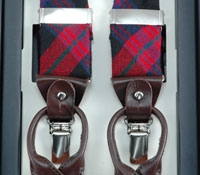 Red & Navy Plaid Wool Braces